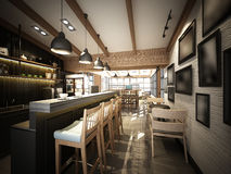 3d render of coffee shop ,3dwire frame render Stock Photography