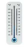 3D render cold white thermometer indicating low temperature. On white background Royalty Free Stock Photo
