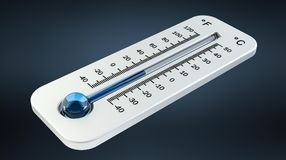 3D render cold white thermometer indicating low temperature Royalty Free Stock Image