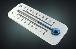 3D render cold white thermometer indicating low temperature Royalty Free Stock Photography