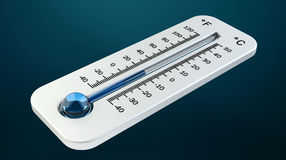 3D render cold white thermometer indicating low temperature Royalty Free Stock Images