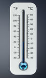3D render cold white thermometer indicating low temperature Royalty Free Stock Photos