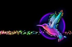 3d render of colibri bird - hummingbird with stars. 3d render of colibri bird - hummingbird striped silhouette with stars Stock Photo