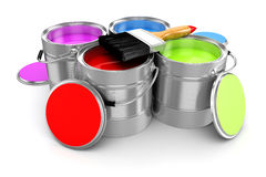 3d render of colorful paint bucket Royalty Free Stock Photo