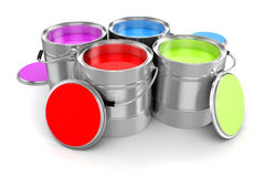 3d render of colorful paint bucket Stock Photo