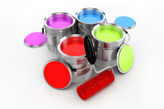 3d render of colorful paint bucket. On white background stock illustration