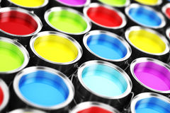 3d render of colorful paint buckets. Colorful background Royalty Free Stock Images