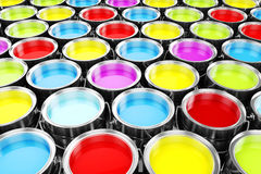 3d render of colorful paint buckets. Colorful background royalty free illustration