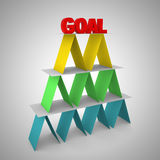 3d render of colorful pyramid with word goal on on the top. Stock Photo