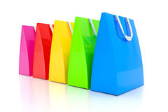 3d render - colorful shopping bags. 3d render - Five colorful shopping bags over white background Stock Photo