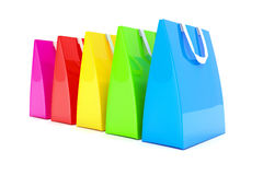 3d render - colorful shopping bags. 3d render - Five colorful shopping bags over white background Stock Photography