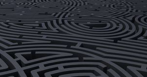 3d render of complicated black maze abstract white background stock illustration