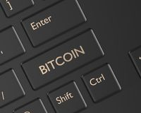 3d render of computer keyboard with BITCOIN button. Cryptocurrencies concept Royalty Free Stock Photography