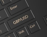 3d render of computer keyboard with pound and dollar button Stock Photos