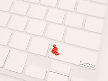 3d render concept, dating key on keyboard with heart. Dating Concept. Button on Modern Computer Keyboard with multiple small heart shape objects Royalty Free Stock Image