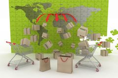 3d render concept of shipping everywhere Stock Photography