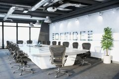 3d render - conference room in an office building. With a large long table and chairs Royalty Free Stock Photography