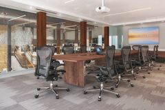 3d render - conference room in an open plan office. With a large long table and chairs Stock Photos