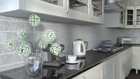 Contemporary kitchen. 3D render of a contemporary kitchen Royalty Free Stock Photos