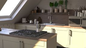 Render of  3D Contemporary kitchen. 3D render of a contemporary kitchen interior stock illustration