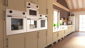 Render of 3D Contemporary kitchen stock photos