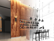 3d render of counter bar Royalty Free Stock Image