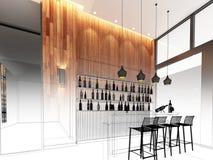 3d render of counter bar Royalty Free Stock Photos