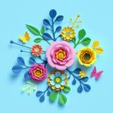 3d render, craft paper flowers, floral bouquet, botanical arrangement, candy colors, nature clip art isolated on blue background. 3d render, craft paper flowers vector illustration