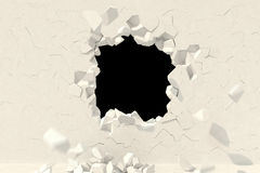 3d render. Creative background concept: destruction of a wall Royalty Free Stock Photography