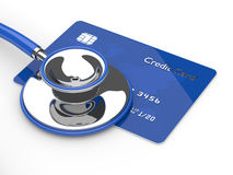 3d render of credit card with stethoscope over white Royalty Free Stock Photos