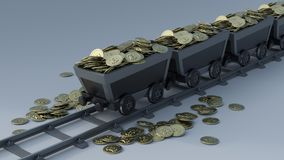 Crypto Currency Mining. 3D Render of Crypto Currency Mining Royalty Free Stock Photography