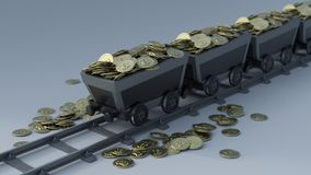 Crypto Currency Mining. 3D Render of Crypto Currency Mining vector illustration