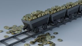 Crypto Currency Mining. 3D Render of Crypto Currency Mining Royalty Free Stock Image