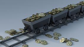 Crypto Currency Mining. 3D Render of Crypto Currency Mining Stock Photo