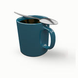 3d coffee cup with silver spoon  on white Stock Images