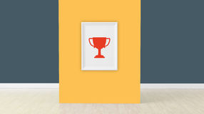3d render, cup sign on frame Royalty Free Stock Photography