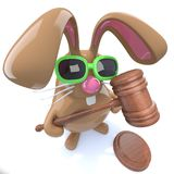 3d Cute chocolate Easter bunny rabbit holding an auctioneers gavel vector illustration