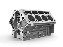 3d render of cylinder block from strong car with V8 Stock Image