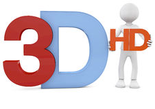 3d render of the 3d and hd text Royalty Free Stock Photo