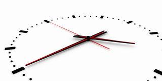 3D render, 3d illustration. Abstract clock, dial with a marking and arrows. Royalty Free Stock Photos