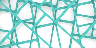 3d render, 3d illustration, abstract construction background, grid pattern on a blue green ..intersection of lines. On three levels Royalty Free Stock Photo