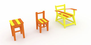 3d render, 3d illustration, the evolution of a wooden stool. Royalty Free Stock Photography