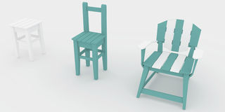 3d render, 3d illustration, the evolution of a wooden stool. Royalty Free Stock Photos
