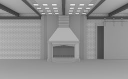 3D render, 3d render, loft-style interior, brick wall, fireplace, steel crossbars on the ceiling,. Sliding door on a roller suspension.n Stock Photo