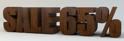 3d text, sale 65 percent. 3d render, 3d text, with the phrase sale 65 percent, voluminous letters wooden on a light background Stock Photos