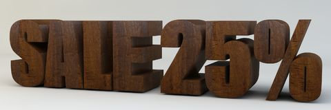 3d text, sale 25 percent. 3d render, 3d text, with the phrase sale 25 percent, voluminous letters wooden on a light background Royalty Free Stock Photography