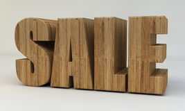 3d text, sale. 3d render. 3d render, 3d text, voluminous letters wooden on a light background Stock Image
