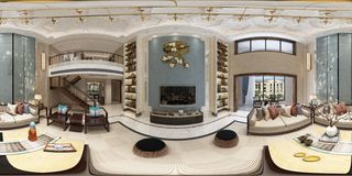 3d render of 360 degrees living and dining room. 3d render of 360 degrees modern living and dining room royalty free illustration