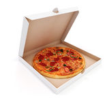3d render of delicious pizza and box Stock Images