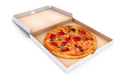 3d render of delicious pizza and box Royalty Free Stock Photo